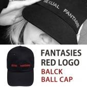 FANTASIES RED LOGO BLACK BALL CAP