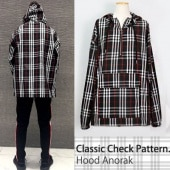 CLASSIC CHECK PATTERN HOOD ANORACK-BLACK ver.