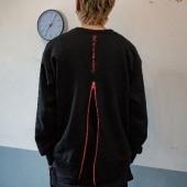 【2XADRENALINE】Zipper Back Point Sweat Shirt - Black
