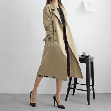 Mochi simple long trench coat