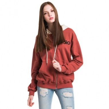 Lettering Angel Hoodie Zip-up Burgundy